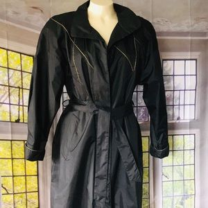 Black and Gold Vintage Trench Rain Coat